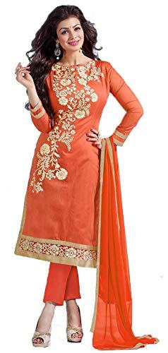 Chudidar Kurta Dress - Mirraw Orange Chanderi Embroidered Unstitched Chudidar Salwar Suit with Dupatta
