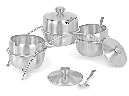 Internets Best Condiment Serving Bowls with Stand | Set of 3 | Catering Hosting Serving Dish Set with Lids and Spoons | Stainless Steel