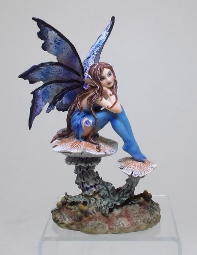 PTC 6.25 Inch Nice Blue Fairy Sitting on Mushroom Statue Figurine ()