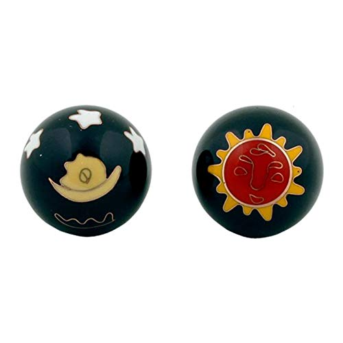 Qi Gong Kugeln Sonne /& Mond rot//gelb auf schwarz 3.5 cm