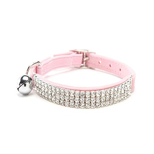 301cm Adjustable Flocking Collar Crystal Diamond Neck Strap with Bell for Pets -