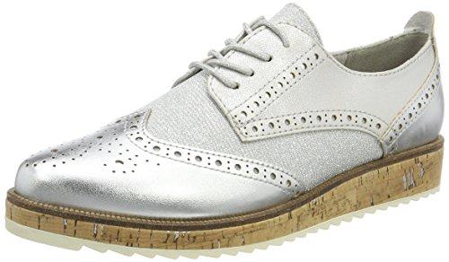 Brogue Zapatos Plateado Cordones De 23726 silver Para Tozzi Comb Marco Mujer qxnSawTPXS