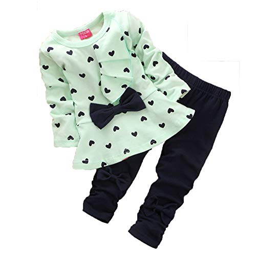 Clearance!! 0-3 Years Kids Baby Girls Clothes Cute Heart-Shaped Print Bow Tops T Shirt + Pants Leggings 2Pcs Outfits Sets (Green, 18-24 Months)
