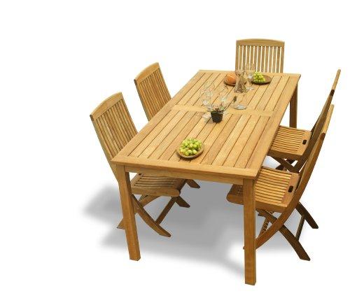 Table Dining Set Teak Rectangular (Three Birds Casual Brunswick Rectangle Dining Table with Braxton Folding Side Chairs Set, Teak)