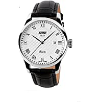 J.Market Quartz Watch 30 Meters Waterproof Wrist Business Casual Watch Roman Numeral Couples Watch With Date Function with Genuine Leather Band