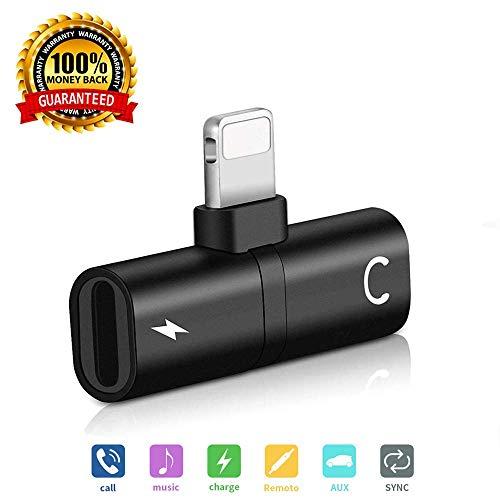 Splitter Phone, Phone Splitter, Phone Adapter, Double 2 in 1 Adapter, XMGHTU Adapter Splitter for Phone X 8 8Plus 7 7Plus (Compatible with iOS 10-11) Charging Audio Headset Headphone