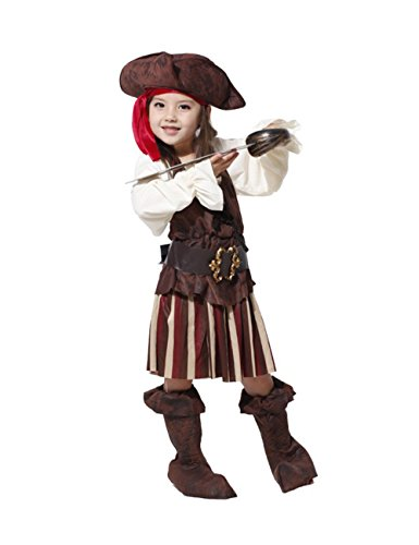 Girl's Pirate Queen Caribbean Children Halloween Cosplay Costume Dress Absolutely Perfect Brown XL
