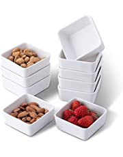 TAMAYKIM 6 OZ Porcelain Ramekins Set of 10, 3.5 Inch White Square Small Bowls for Baking, Souffle, Appetizer, Custard Dish, Pudding, Dipping, Serving, Oven, Microwave & Dishwasher Safe