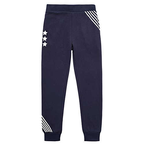 UNACOO Casual Kid Boys Sports Jogger Active Pants (Navy, s(6-7T)) by UNACOO