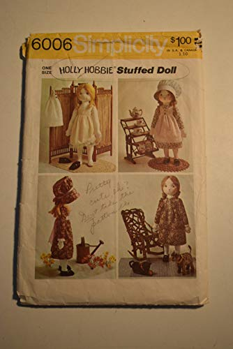 Simplicity 6006 Holly Hobbie Doll Stuffed Rag Doll Vintage 70s Sewing Pattern Clothing