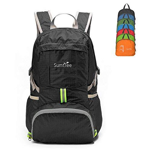 Sumtree 35L Ultra Lightweight Foldable Packable Backpack, Men and Women Durable Light Hiking Cycling Sports Travel Daypack, Water Resistant (Black with Grey Zipper)