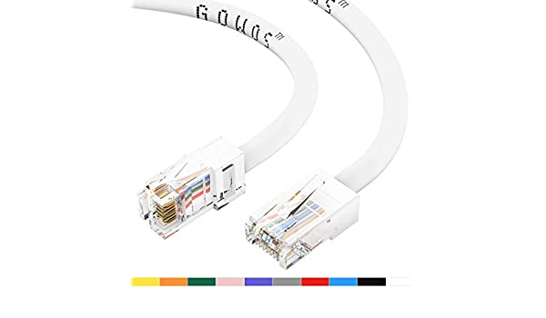 10-Pack - 7 Feet 24AWG Network Cable with Gold Plated RJ45 Non-Booted Connector 1Gigabit//Sec High Speed LAN Internet//Patch Cable GOWOS Cat5e Ethernet Cable 350MHz Black