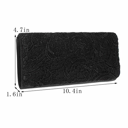 FASHIONROAD Evening Clutch, Fashion Road Womens Lace Floral Clutch Purses for Wedding & Party