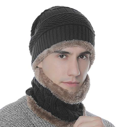 Folamer Adult Winter Hat and Scarf Set 2-in-1 Women Man Warm Knit Beanie and Circle Scarf with Lining