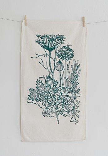 Culinary Herb Tea Towel in Dark Green – Flour Sack Towel – Natural Cotton Kitchen Towel – Botanical Print – Hand Printed Tea Towel