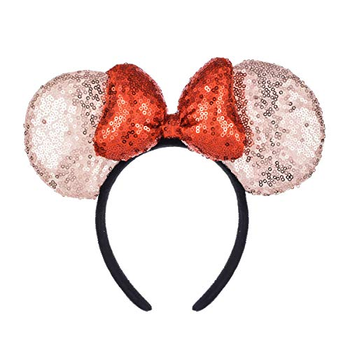 A Miaow 3D Mickey Mouse Sequin Ears Headband Minnie Glitter Hair Clasp Park Supply Girls Kids Adult Photo Accessory (Champagne and Red)