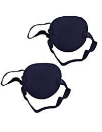 2PCS Single Concave Shaped Adjustable Amblyopia Corrected Visual Acuity Recovery Eye Patch Mask Eye Cover Pads Eyepatch with Buckle for Adults and Kids Lazy Eye Strabismus(Black)