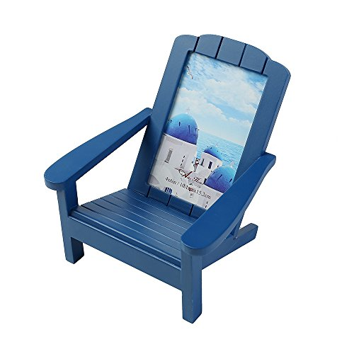 Aike Adirondack Chair Wooden Picture Photo Frame Beach Shoreline Dimensional Décor on Desk Table Blue 4 by 6 inch with Real Glass ()
