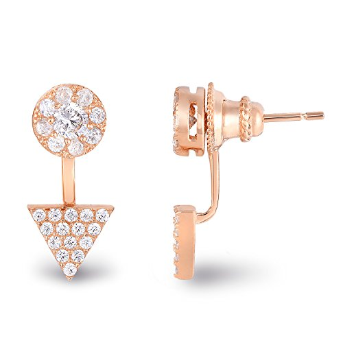 14k Rose Gold Plated Sterling Silver Cubic Zirconia Halo Geometric Triangle Front Back Stud Earrings -