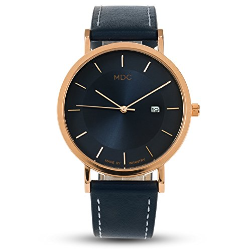 MDC Mens Classic Fashion Analog Watch Blue Leather Dress Business Casual Wrist Watches for Men with Date