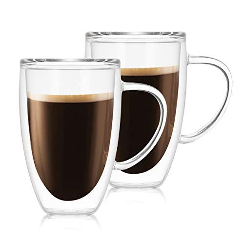Glass Coffee Mug Coffee Tea Cup Drinking Glasses Set of 2 Double Walled Thermo Insulated Mugs with Handles for Hot Cold Drinking Christmas