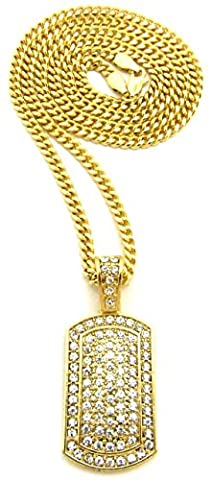GWOOD Dog Tag Necklace Iced Out Mini Size Gold Color 24 Inch Cuban Link Chain (Gold Plate Chain Necklace)