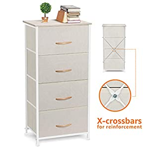 COSYLAND 4 Drawer Dresser Storage Tower, Fabric Organizer Unit Stable for Bedroom, Closet, Entryway, Hallway, Nursery…