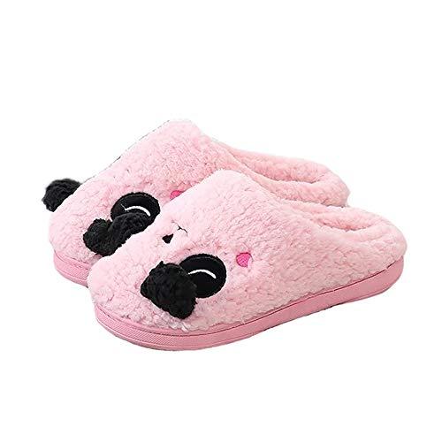 Warm Indoor Soft Pink Pattern Plush JadeRich Animal Slippers XUBI88