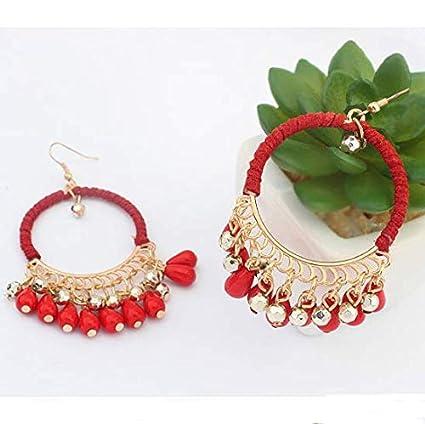 Ethnic Retro Bohemian Droplets Color Dangle Earrings