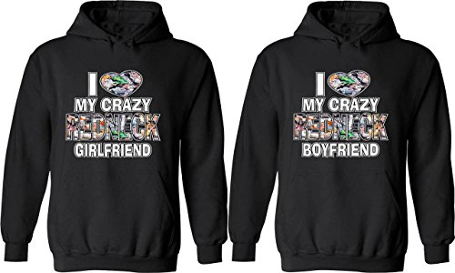I Love My Crazy Redneck Girlfriend & Boyfriend -Matching Couple Shirts Love Tees (Couples Outfit)