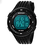 Men's Digital Sport Watches Led Waterproof Wristwatch with Alarm Stopwatch Dual Time Zone Count Down EL Backlight Calendar Date for Men