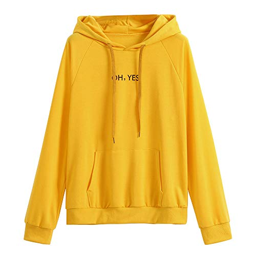 Women's Sweatshirt Pullover Long Sleeve Oh Yes Solid Color Casual Hooded Pullover Top Outwear for Teen Girls with Pocket Yellow
