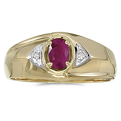 10K-YellowWhite-Gold-Diamond-Accent-and-6-x-4-MM-Oval-Shaped-Ruby-Mens-Ring
