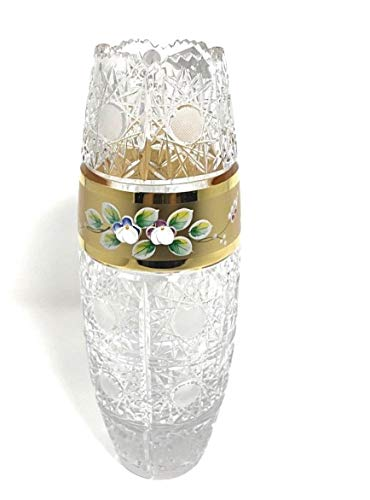 Bohemian Cut Glass - Czech Bohemian Crystal Glass Vase 10''-Height Hand Cut Gold Plated Hand Decorated Wedding Gift Elegant Centerpiece Flower Vase Vintage Lace Design Classic Crystal Glass