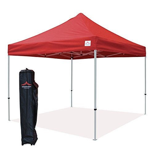 UNIQUECANOPY Classic 10x10 Ez Pop up Canopy Instant Tent Outdoor Party Gazebo Portable Folded Commercial shelter, with Wheeled Carrying Bag Red