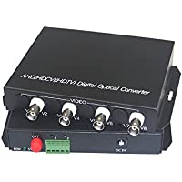 Guantai 1080P HD CVI AHD TVI 4 Channel Video Fiber Optical Media Converters with RS485 Data,FC, Singlemode 20Km- For 1080p 960p 720p AHD CVI TVI HD CCTV