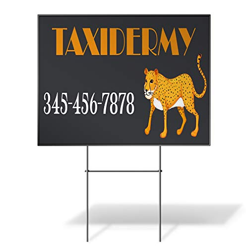 Custom Personalized Yard Sign Taxidermy Phone Number Cheetah Leopard Black Two Sides Print 18inx12in (Cheetah Print House Phone)