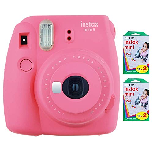 Fujifilm Instax Mini 9 Instant Camera (Flamingo Pink) with 2 x Instant Twin Film Pack (40 Exposures) (Renewed)