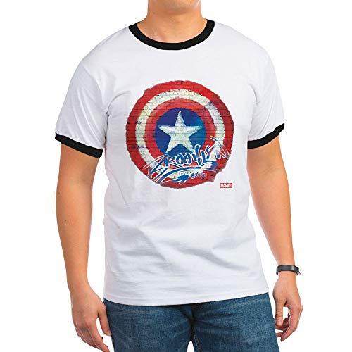CafePress Captain America Graffiti Shield Ringer T-Shirt, 100% Cotton Ringed T-Shirt, Vintage Shirt Black/White ()