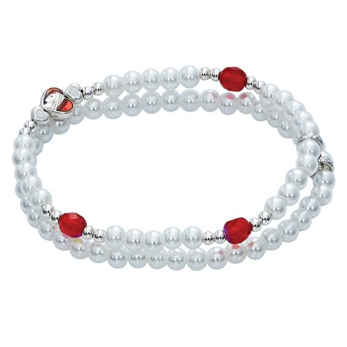 BR465 WHITE PEARLS WITH RED CRYSTAL DOUBLE