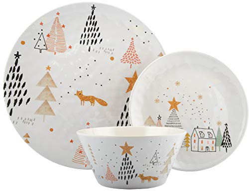 Melange 608410091580 12-Piece 100% Dinnerware Set for 4 Christmas Collection-Golden Fox Shatter-Proof and Chip-Resistant Melamine Dinner Plate, Salad Plate & Soup Bowl (4 Each), 10.5