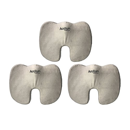 Auxilium Coccyx Memory Foam Seat Cushion For Back Pain And Sciatica Support Orthopedic Office Chair And Car Seat Pillow   Grey
