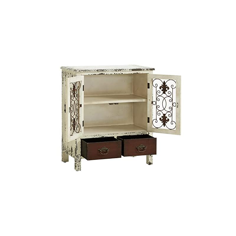 """Powell Furniture 990-332 Parcel 2-Door 2-Drawer Console, White 30"""" L x 13.75"""" W x 25.5"""" H"""