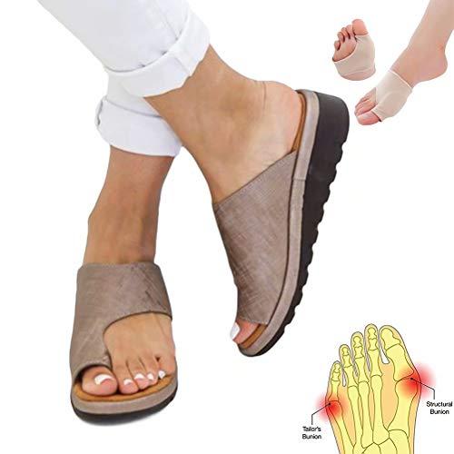 Women Sandal Comfy Platform Sandal Shoes 2019 New Summer Slides Slippers Sandal Toe Platform Flip Flop Shoes Beach Travel Shoes + Bunion Corrector