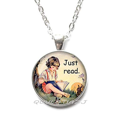 - QUVLOTIAZJ Just Read Pendant.FashionStorybook Boy Reading Necklace.Books Jewelry.Book Lover Gift,Teacher's Gift,ot189 (A1)