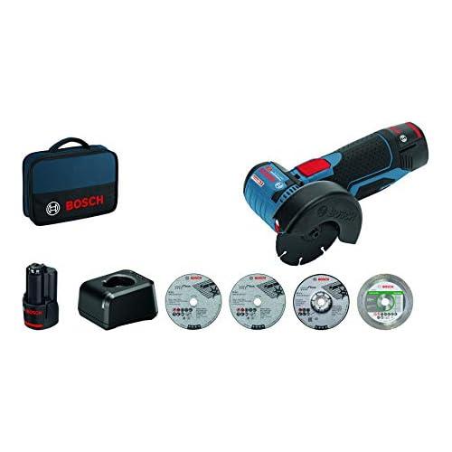 chollos oferta descuentos barato Bosch Professional 06019F200C GWS 12V 76 Amoladora Angular 19500 RPM Ø Disco 76 mm 5 Accesorios 2 baterías x 2 0 Ah en Bolsa 12 V Azul Size