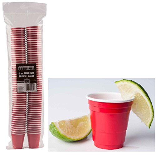 Goodtimes 2oz Mini Party Cups 100ct Bag Perfect size for liquor shots, Jello shots, Halloween Parties, serving condiments and kids love them too! (Red-Bulk) by Goodtimes (Image #1)