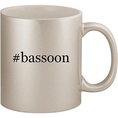 Coffee Gift Concerto (#bassoon - 11oz Ceramic Coffee Mug Cup, Silver)