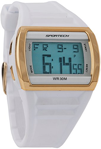 White Gold Mens Rectangle Watch (Women's Watches by Sportech - White And Gold Digital Sport Watch - Make Every Second Count - SP10302)