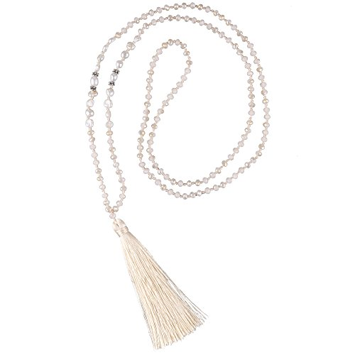 C·QUAN CHI Long Chain Tassel Necklace Handmade Natural Pearl Crystal Beaded Pendant Bohemian Women Statement Jewelry for Women Gifts for Girls (Necklace Beaded Handmade)
